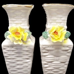 2 Vintage Basket Weave Bud Vases w Yellow Flowers
